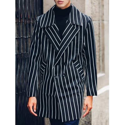 Lapel Double Breasted Striped Coat
