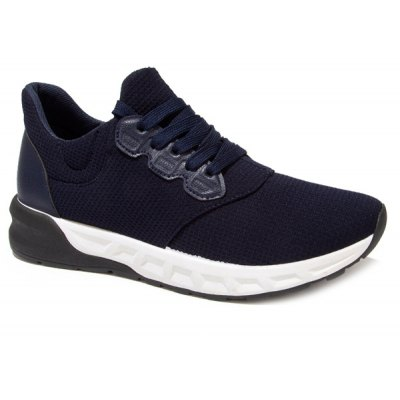 Splicing PU Leather Lace-Up Athletic Shoes