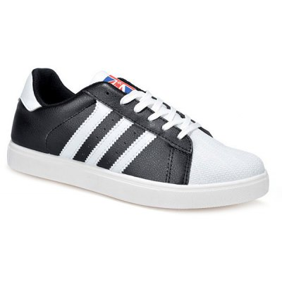 Striped Pattern Lace-Up Casual Shoes