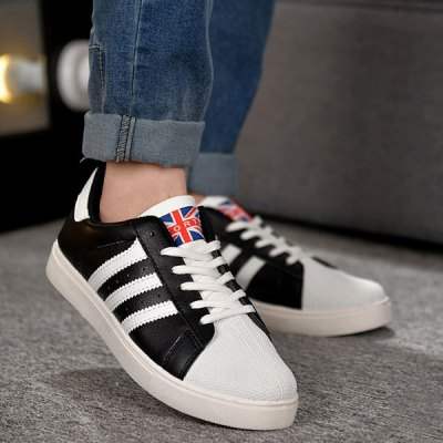 Colour Splicing Striped Pattern Lace-Up Casual Shoes