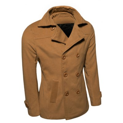 Turn-Down Collar Double-Breasted Wool Coat