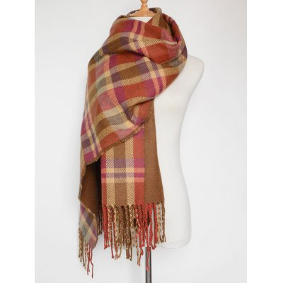 Double Sided Tassel Plaid Scarf