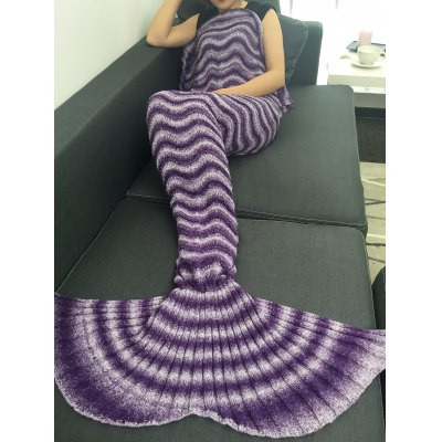 Super Soft Knitting Wave Stripe Mermaid Tail Style Blanket
