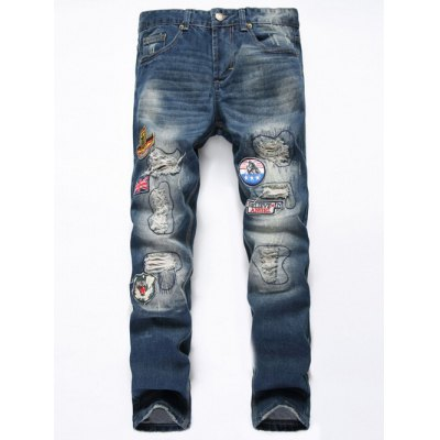 Straight Leg Flag Applique Distressed Jeans