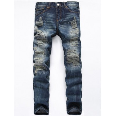 Zipper Fly Straight Leg Frayed Jeans