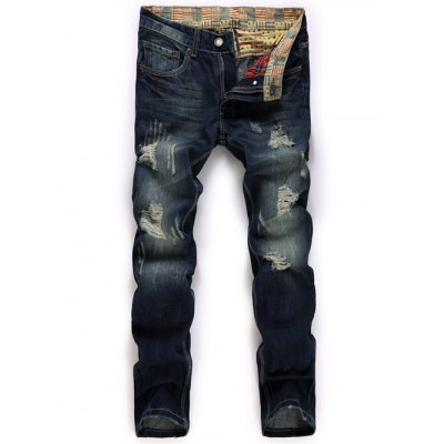 Zipper Fly Straight Leg Destroyed Washed Jeans