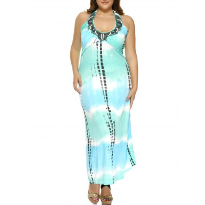 Halter Printed Plus Size Maxi Dress