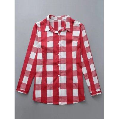 Plus Size Buttoned Checkered Print Shirt