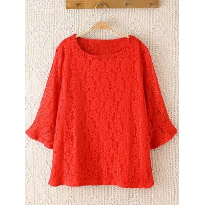 Plus Size Laciness Flare Sleeves Blouse