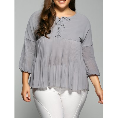 Lace-Up Pleated Blouse