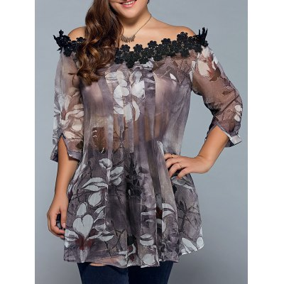 Floral Print See-Through Blouse