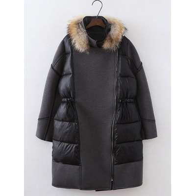 Patchwork Plus Size Furred Coat