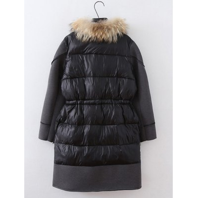 Plus Size Patchwork Furred CoatPlus Size Outerwear<br>Plus Size Patchwork Furred Coat<br><br>Clothes Type: Padded<br>Material: Cotton Blends,Polyester<br>Type: High Waist<br>Clothing Length: Long<br>Sleeve Length: Full<br>Collar: Stand-Up Collar<br>Pattern Type: Solid<br>Embellishment: Patch Designs<br>Style: Casual<br>Season: Winter<br>Weight: 1.800kg<br>Package Contents: 1 x Coat