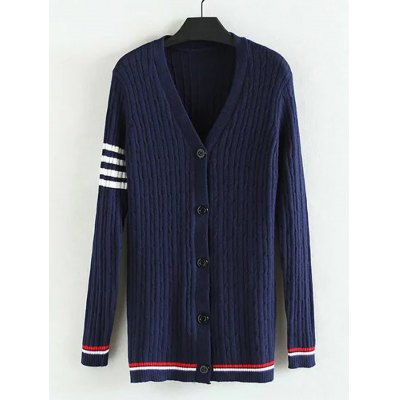 Striped Plus Size Ribbed Cardigan