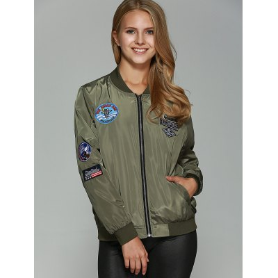 Appliques Bomber JacketPlus Size Outerwear<br>Appliques Bomber Jacket<br><br>Clothes Type: Jackets<br>Material: Spandex<br>Type: Wide-waisted<br>Clothing Length: Regular<br>Sleeve Length: Full<br>Collar: Stand-Up Collar<br>Pattern Type: Patchwork<br>Embellishment: Appliques<br>Style: Streetwear<br>Season: Fall,Spring,Winter<br>With Belt: No<br>Weight: 0.374kg<br>Package Contents: 1 x Jacket