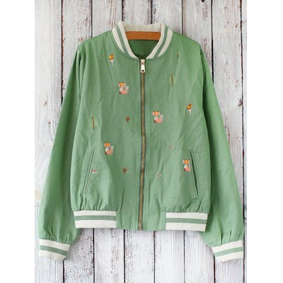Embroidered Front Baseball Jacket