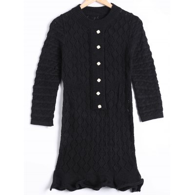 Hollow Out Mini Long Sleeve Sweater Dress