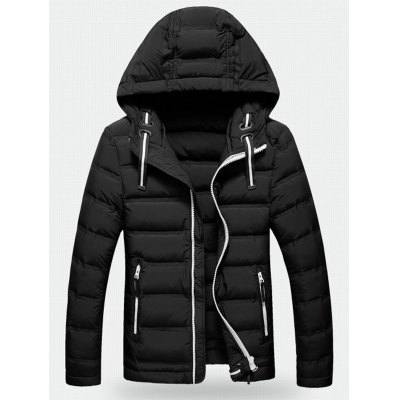 Contrast Zipper Hooded Quilted Jacket