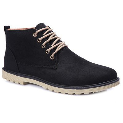 Dark Color Tie Up Casual Shoes