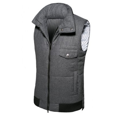 Pocket Design Stand Collar Thicken Woolen Zip-Up Padded Waistcoat