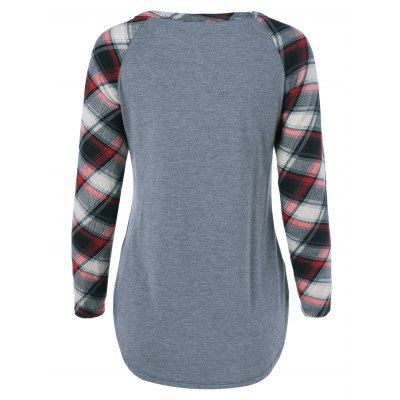 Plus Size One Pocket Plaid Sleeve T-ShirtPlus Size Tops<br>Plus Size One Pocket Plaid Sleeve T-Shirt<br><br>Material: Cotton Blends,Spandex<br>Clothing Length: Long<br>Sleeve Length: Full<br>Collar: Scoop Neck<br>Style: Casual<br>Season: Fall,Spring,Summer<br>Pattern Type: Plaid<br>Weight: 0.246kg<br>Package Contents: 1 x T-Shirt
