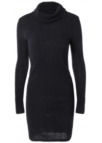 Turtleneck Fitted Ribbed Knit Dress