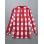 cheap Plus Size Checkered Print Buttoned Shirt