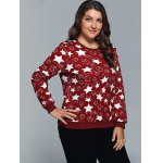 Star Print Textured Pullover Sweatshirt deal