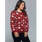 cheap Star Print Textured Pullover Sweatshirt