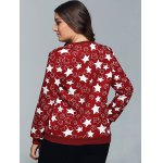 Star Print Textured Pullover Sweatshirt for sale