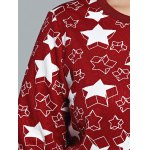 best Star Print Textured Pullover Sweatshirt