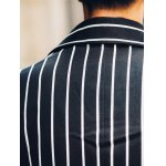 Side Pocket Lapel Double Breasted Striped Coat photo