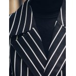 best Side Pocket Lapel Double Breasted Striped Coat