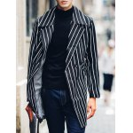 Side Pocket Lapel Double Breasted Striped Coat for sale