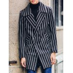 Side Pocket Lapel Double Breasted Striped Coat deal