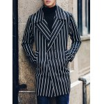 cheap Side Pocket Lapel Double Breasted Striped Coat