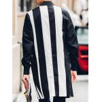 Contrast Color Flap Pocket Rib Cuff Coat for sale
