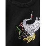 Crane Embroidery Pullover Sweater for sale