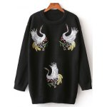 Crane Embroidery Pullover Sweater