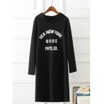 Plus Size Hooded Letter Printed Dress