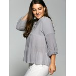cheap Lace Up Plus Size Pleated Blouse