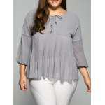 Lace Up Plus Size Pleated Blouse