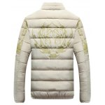 Stand Collar Tiger and Graphic Print Zip-Up Down Jacket deal