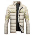 cheap Stand Collar Tiger and Graphic Print Zip-Up Down Jacket