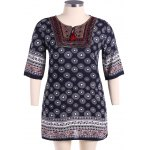 Bohemian Drawstring Design Embroidery Dress