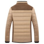 cheap Stand Collar Corduroy Splicing Design Zip-Up Down Jacket