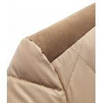 Stand Collar Corduroy Splicing Design Zip-Up Down Jacket for sale