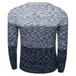 cheap Crew Neck Ombre Long Sleeve Knit Blends Sweater