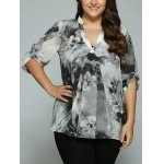 Plus Size Adjustable Sleeve Ink Painting Blouse
