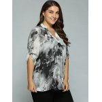 Plus Size Adjustable Sleeve Ink Painting Blouse deal